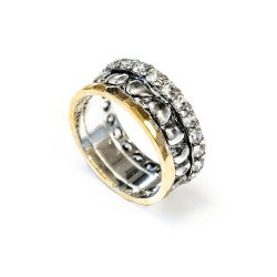 Siver Ring Vintage gold plated/oxide and zircon