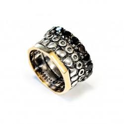 Ring Vintage Silber vergoldet Oxid und schwarzen Zirkon