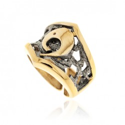 Ring Vintage Silber vergoldet Ruthenium
