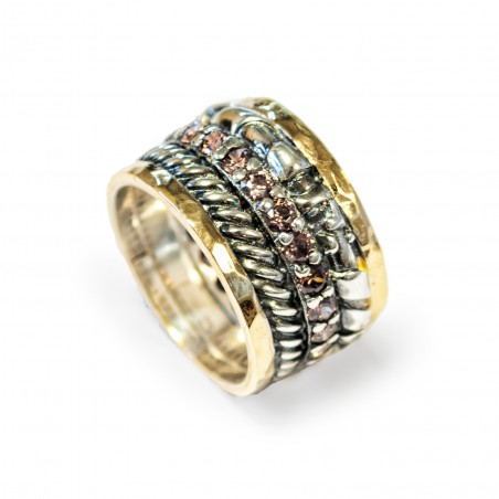 Siver Ring Vintage gold plated/oxide and brown zircon