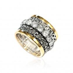 Ring Vintage Silber vergoldet Ruthenium und oxid