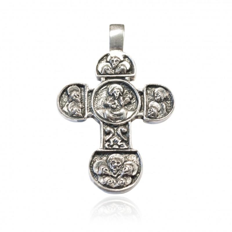 Cruz plata Oxidada con imaginería