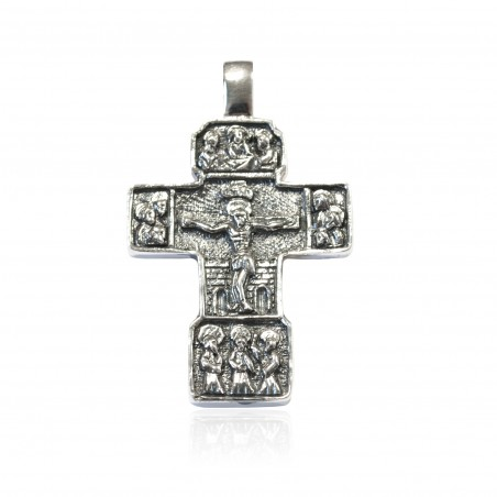Cruz plata Oxidada cuadrada con imaginería