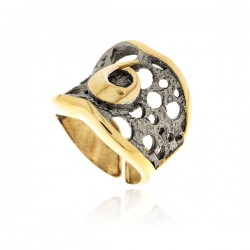Siver Ring Vintage gold plated ruthenium