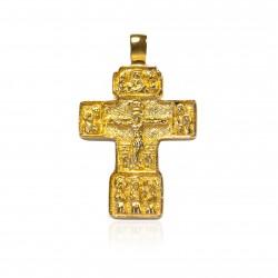 Cruz plata chapada cuadrada en oro con imaginería
