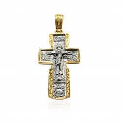 Silver Pendant Vintage cross gold plated/oxide