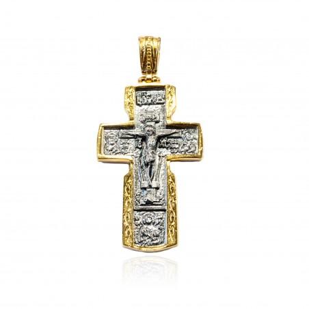 Cruz plata Bicolor con fondo oxidado e imaginería