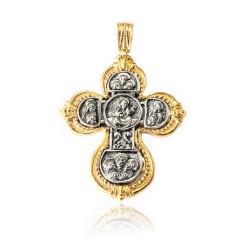 Pendente Vintage Argento Placcato in oro croce/ossido