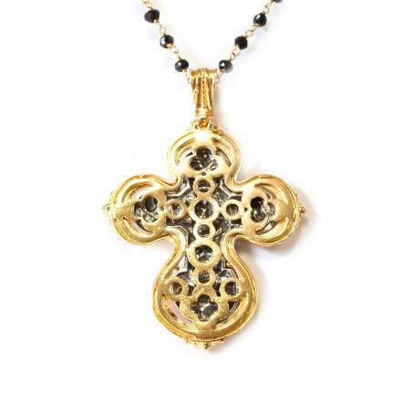 Cruz plata Bicolor con marco dorado y fondo oxidado