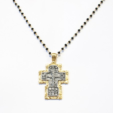 Cruz plata cuadrada Bicolor con marco dorado y fondo oxidado