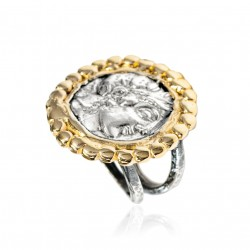 Silver Ring vintage gold plated Greek Coin Laurel