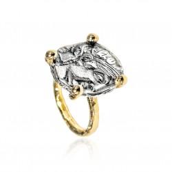 Ring Vintage Silber Greek Münzen Lorbeer