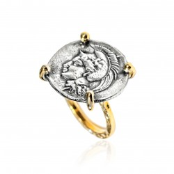 Silver Ring vintage gold plated Greek Coin goddess athena