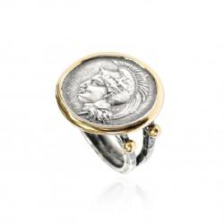 Ring Vintage Silber Greek Münzen Göttin Athene