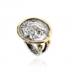 Silver Ring vintage gold plated Greek Coin Alexander The Great