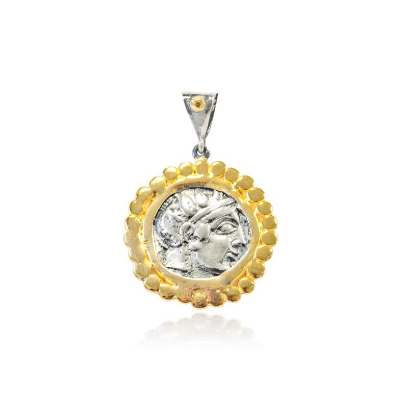Colgante Plata Moneda Griega Bicolor Laurel con marco