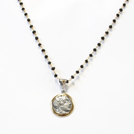 Colgante Plata Moneda Griega Bicolor Laurel Marco brillo
