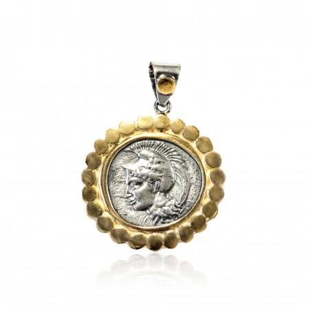 Colgante Plata Moneda Griega Bicolor Atenea con casco