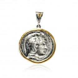 Colgante Plata Moneda Griega Bicolor Atenea casco corintio