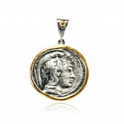 Pendentif Vintage Argent monnaie grecque Plaqué or/oxyde Atenea