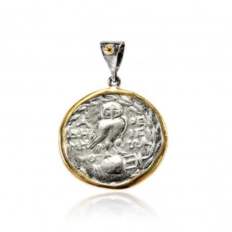 Colgante Plata Moneda Griega Bicolor Lechuza grande