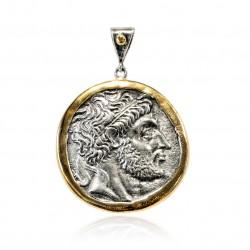 Pendentif Vintage Argent monnaie grecque Plaqué or/oxyde Zeus