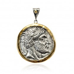 Silver Pendant Vintage gold plated/oxide Greek coin Zeus
