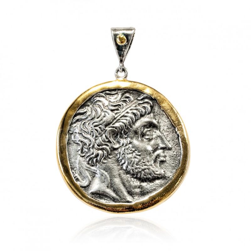 Colgante Plata Moneda Griega Bicolor Zeus