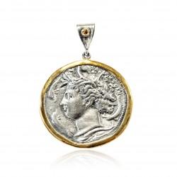 Pendente Vintage Argento moneta greca Placcato in oro/ossido Aretusa