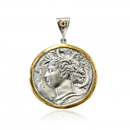 Anhänger Vintage Silber Greek Münzen Vergoldet/Oxid Aretusa