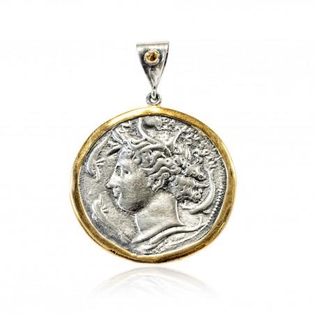 Pendentif Vintage Argent monnaie grecque Plaqué or/oxyde Aretusa