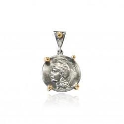 Silver Pendant Vintage gold plated/oxide Greek coin goddess Athena