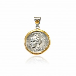 Pendente Vintage Argento moneta greca Placcato in oro/ossido dea Atena