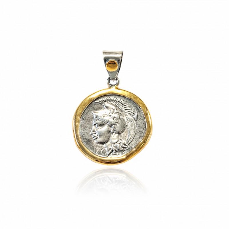 Colgante Plata Moneda Griega Bicolor Atenea con casco marco brillo