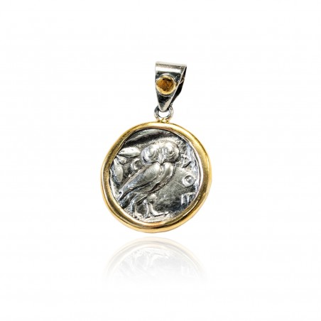 Silver Pendant Vintage gold plated/oxide Greek coin Owl