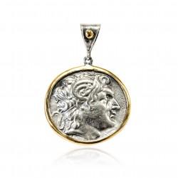 Pendentif Vintage Argent monnaie grecque Plaqué or/oxyde Alejandro Magno