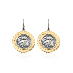Silver Earring Vintage gold plated/oxide Greek coin Owl
