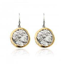 Silver Earring Vintage gold plated/oxide Greek coin Laurel