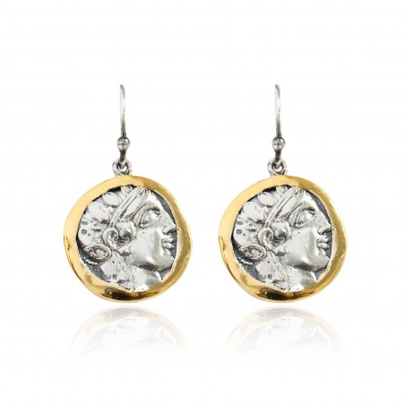 Pendientes Plata Moneda Griega Bicolor Laurel Marco brillo