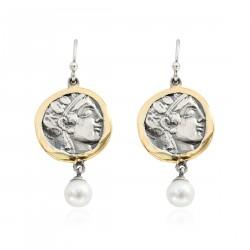Pendientes Plata Moneda Griega Bicolor Laurel con perlas