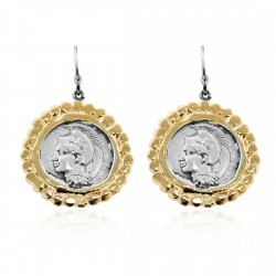 Silver Earring Vintage gold plated/oxide Greek coin goddess Athena
