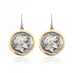 Silver Earring Vintage gold plated/oxide Greek Coin Alexander The Great