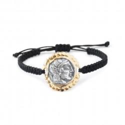 Bracelet Vintage macramé monnaie grecque Plaqué or/oxyde laurier