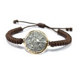 Silver Bracelet macrame vintage gold plated/oxide Greek coin