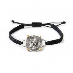 Silver Bracelet macrame vintage gold plated/oxide Greek coin goddess Athena