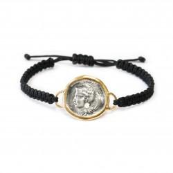 Bracelet Vintage macramé monnaie grecque Plaqué or/oxyde Atenea
