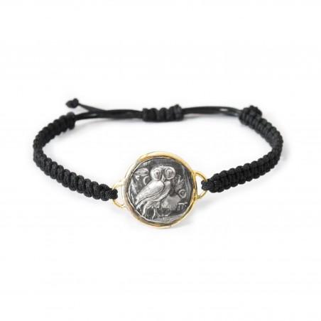 Silver Bracelet macrame vintage gold plated/oxide Greek coin Owl