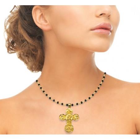 Cruz plata Oxidada en oro con imaginería