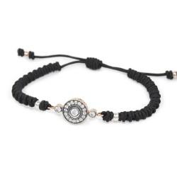 Bracelet macramé Argent Rose Vintage ruthénium noir