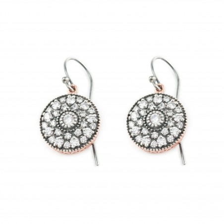 Silver Earrings Vintage rose gold plated ruthenium
